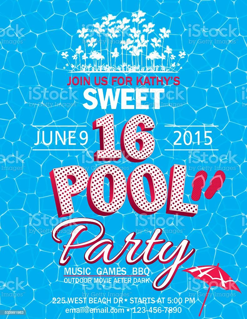 Sweet 16 Pool Party Invitation With Water Palm Trees vector art illustration