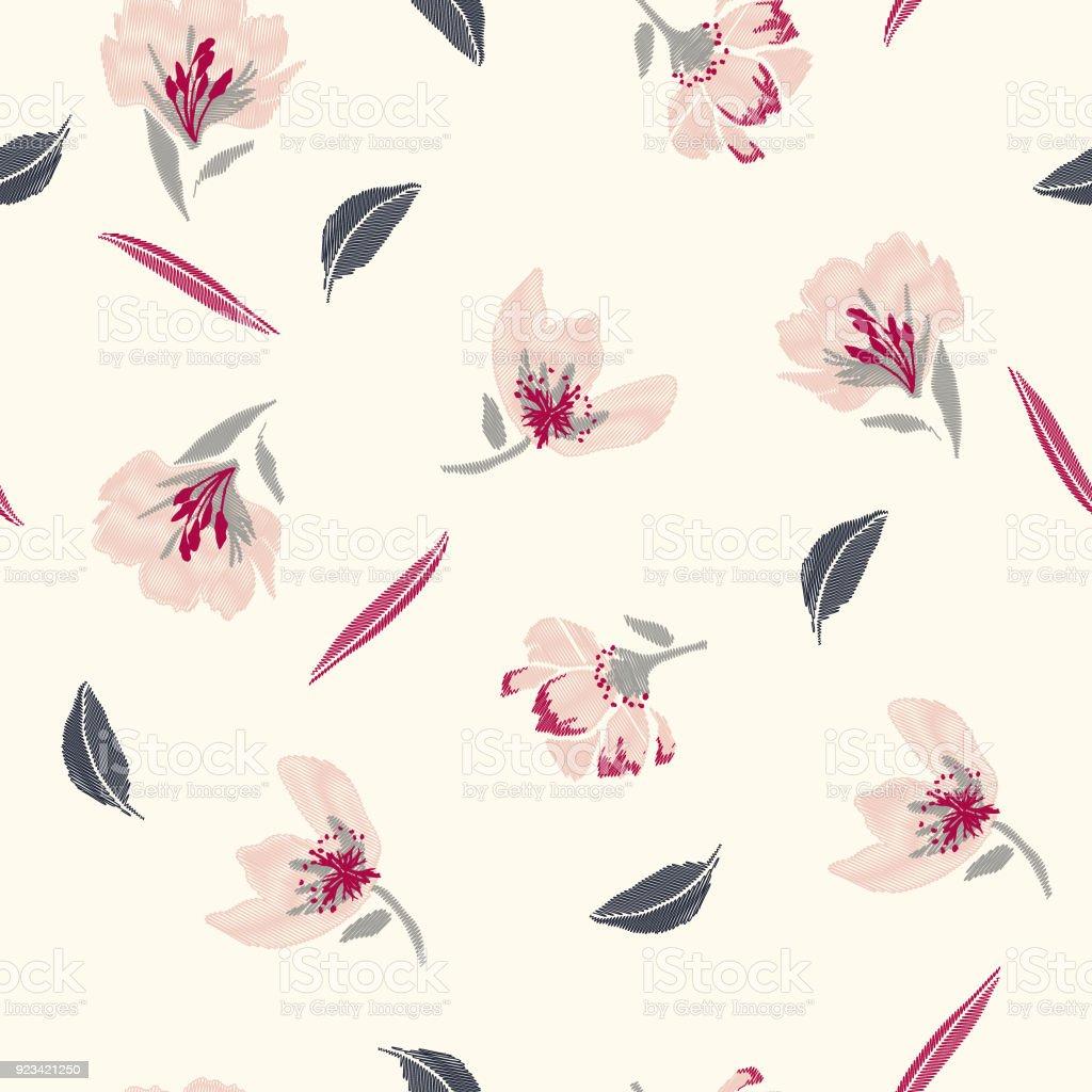 甘くておしゃれ Pasterl L 刺繍花春のシームレスなパターン古典的な花