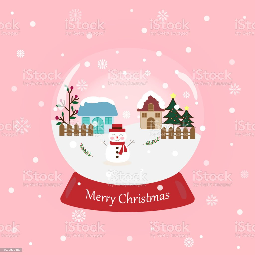 Sweet And Beautiful Snowball With Snowman And Text Merry