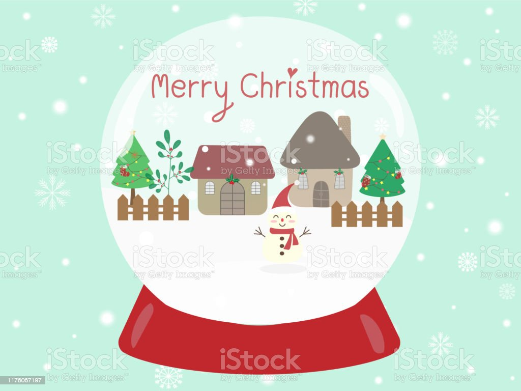sweet and beautiful snowball with snowman and text merry christmas on vector id1176067197