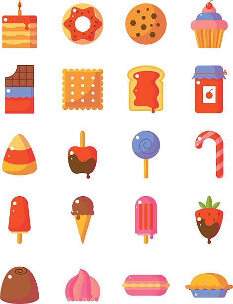 sweet and candy icon set. made in flat style - wackelpuddingkekse stock-grafiken, -clipart, -cartoons und -symbole