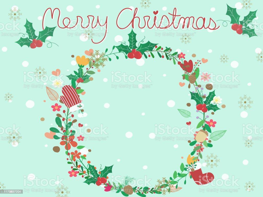 コピースペースとパステルブルーの空の背景に甘くてかわいいクリスマスの花輪ヤシの木松ぼっくり赤い手袋と靴下とカラフルな花と壁紙の花のフレームxmas ベクトルデザイン いたずら書きのベクターアート素材や画像を多数ご用意 Istock