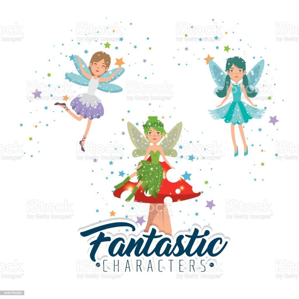 甘くてかわいい妖精漫画ベクトル イラスト グラフィック デザイン