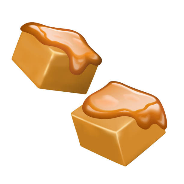 Sweet and delicious caramel candies Sweet and delicious caramel candies on white background, 3d illustration caramel stock illustrations