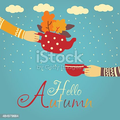 Cute autumnal illustration with two people drinking tea outside. Background with clouds and rain. Inscription