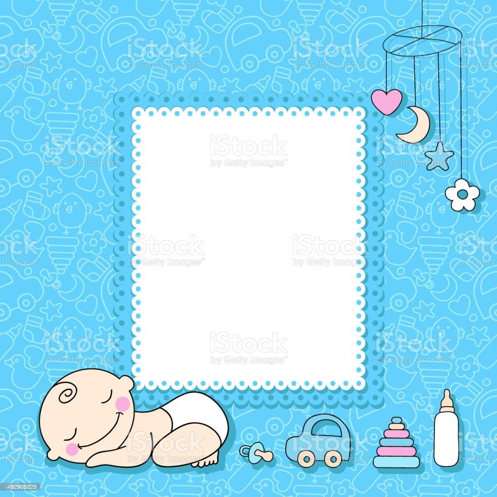Sweet Baby Boy Announcement Card Style Cartoon Stock Vector Art ...
