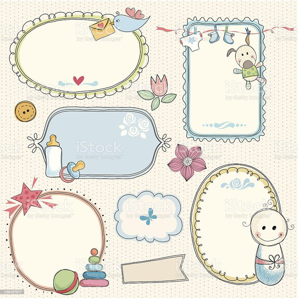 Sweet Baby Frames vector art illustration