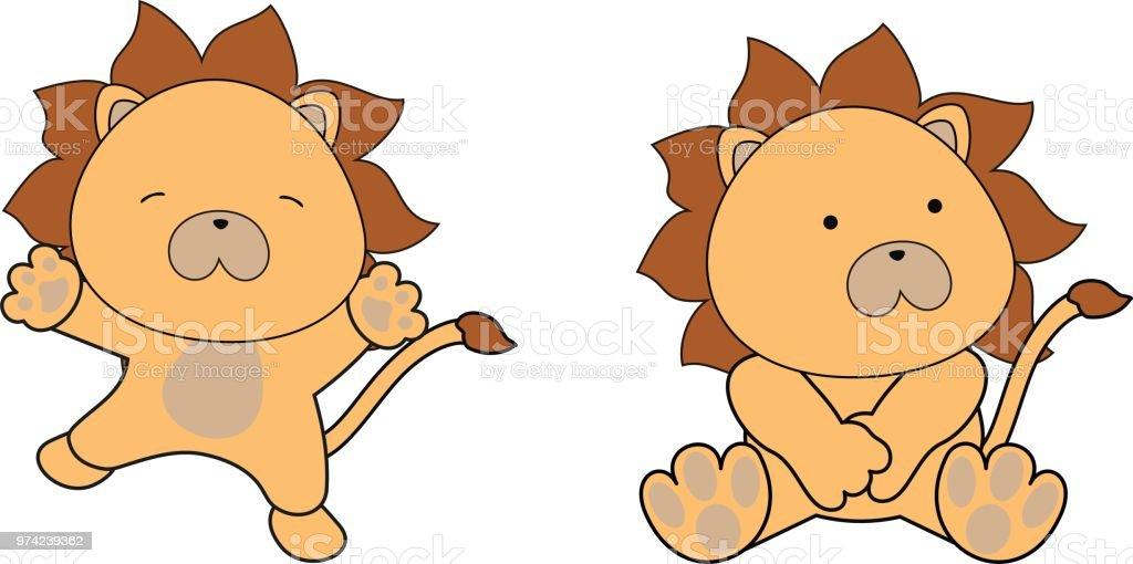 Doux Bébé Lion Assis Et Saute Jeu De Dessin Animé Vecteurs Libres