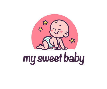 Sweet baby logotype with cute small baby boy silhouette  crawl laughing isolated on white background.