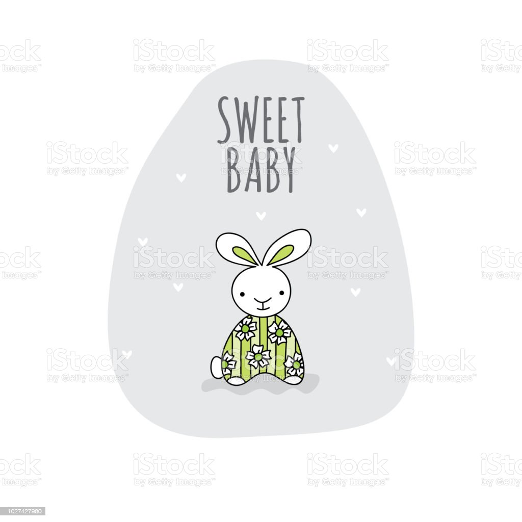 Sweet Baby with Cute Bunny Green Doodle Vector vector art illustration