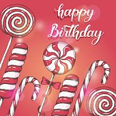 Sweet background with hand drawn lollipops and hand written brush trendy lettering of Happy Birthday. Greetings card. Vector design.