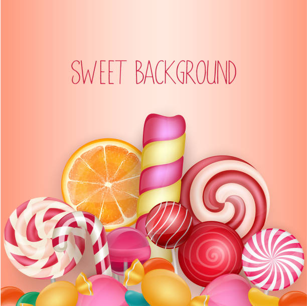 Sweet background with lollipop, ice cream, orange and candies. Vector Illustration of Sweet background with lollipop, ice cream, orange and candies. Vector gum drop stock illustrations