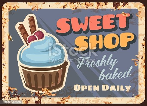 istock Sweet bake and pastry shop rusty metal plate 1309709459