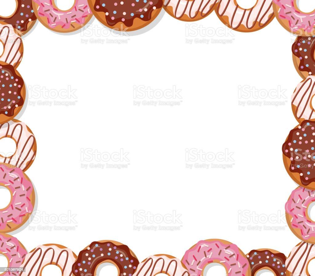 sweet bakery design template cartoon donut frame isolated on white