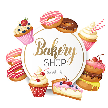 Sweet Bakery Frame with glazed donuts, cheesecake and cupcakes with cherry, strawberries and blueberries on white background. Hand made lettering. Desert for menu. Food design.