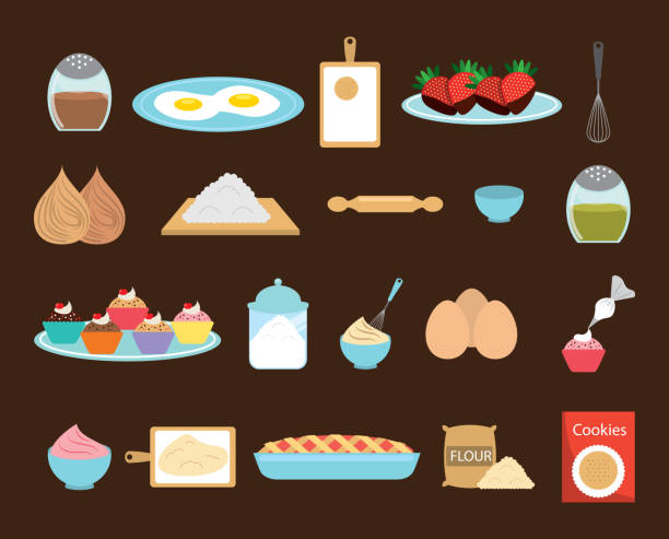 Sweet bakery icon set vector design vector art illustration