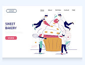 Sweet bakery vector website template, web page and landing page design for website and mobile site development. Micro characters decorating big cupcake with berries. Bakery, confectionery, cake shop.