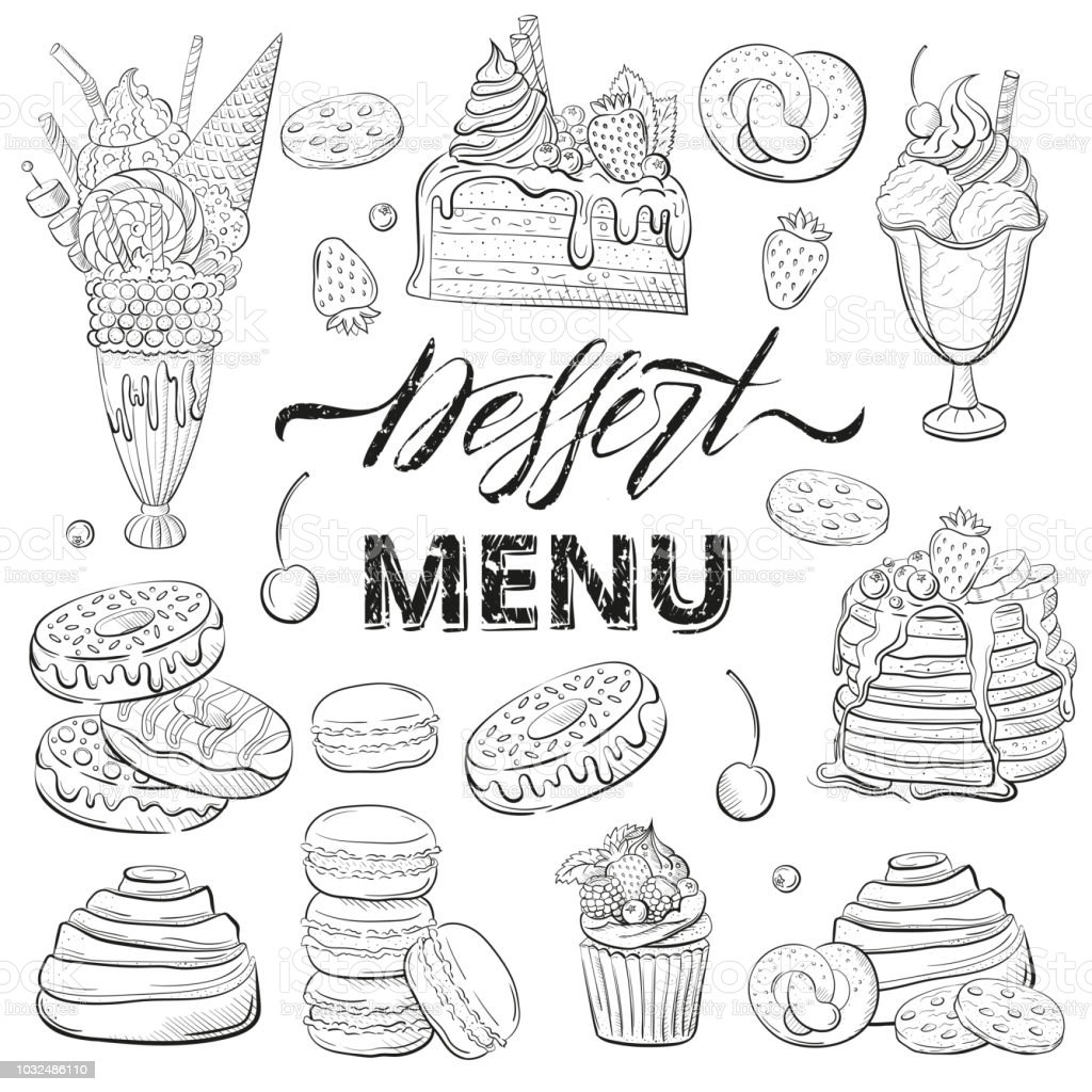 sweet beautiful desserts set clipart for a restaurant or café menu