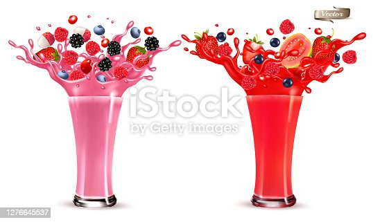 istock Sweet berry juice splash. Whole and sliced strawberry, raspberry, cherry blueberry, blackberry and guava in juice or cocktail with splashes and drops isolated on transparent background. 3D. Vector. 1276645537