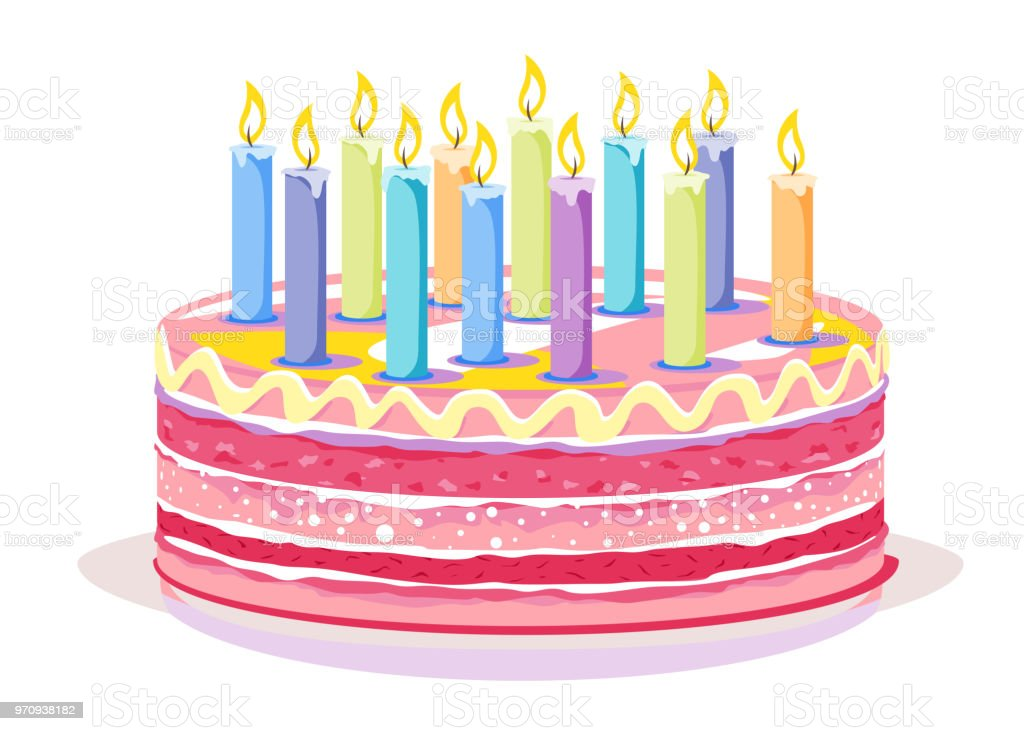 Sweet Birthday Cake With Candles Stock Vector Art More Images Of