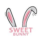 Sweet bunny rabbit ears graphic vector print design