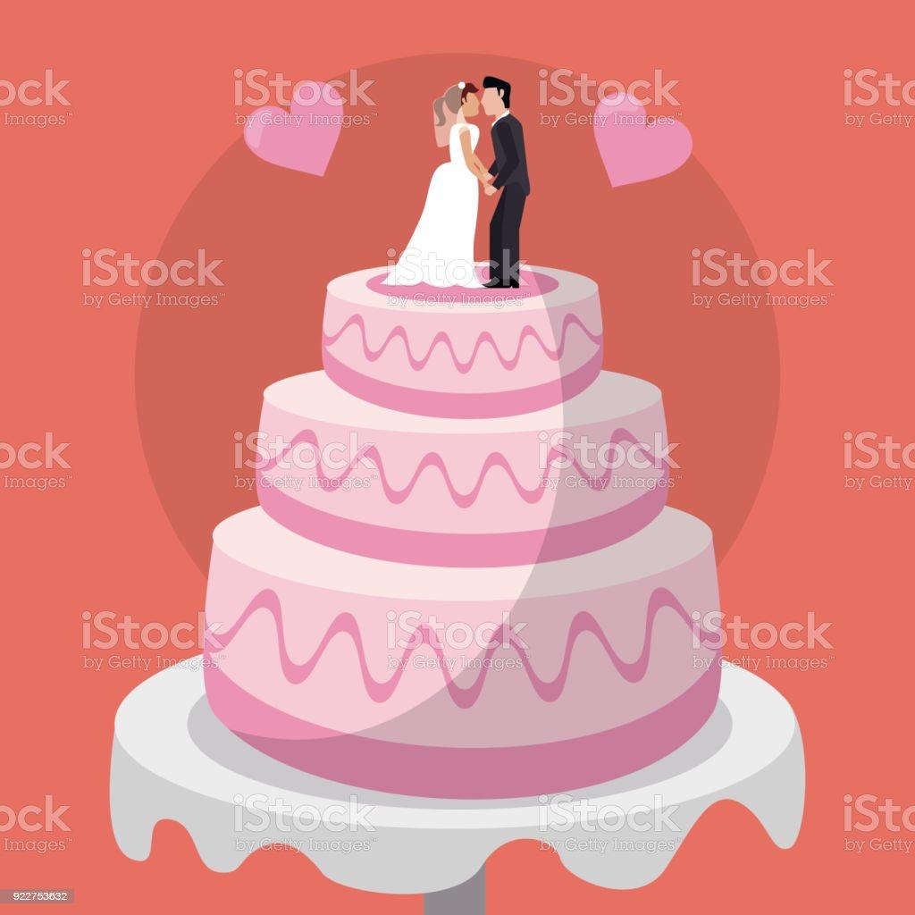 Bonecas de casal doce bolo de casamento - ilustração de arte em vetor