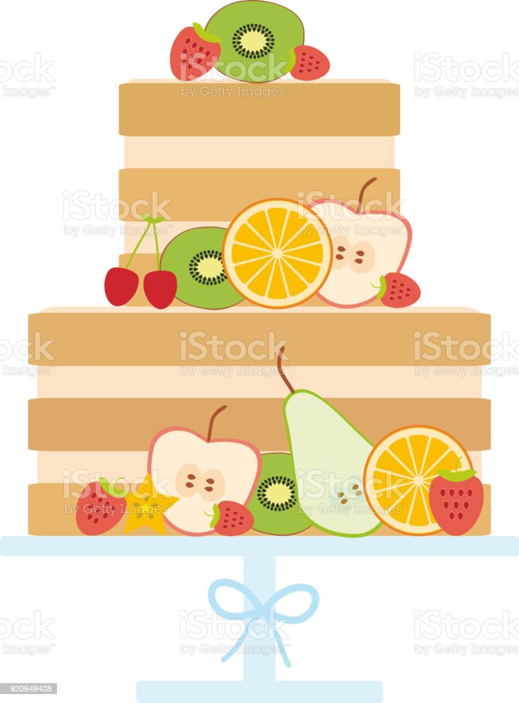 Sweet cake decorated with fresh fruits and berries, pastel colors on white background, Cake Stand. Card design - Birthday, valentine's day, wedding, engagement. Vector vector art illustration