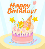 Sweet Cake on Table, Celebrating Happy Birthday.
