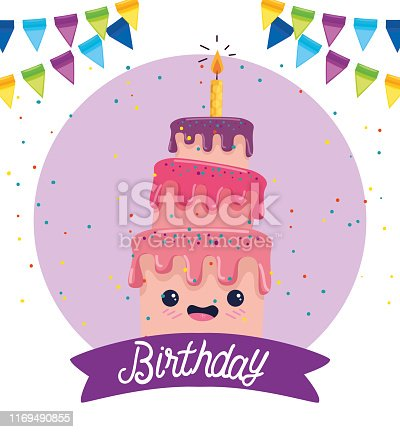sweet cake with candle and ribbon decoration to happy bothday, vector illustration