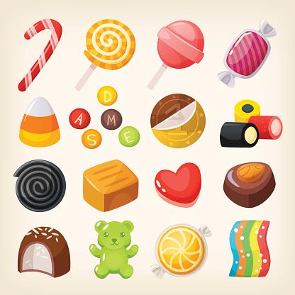 Sweet candies variety