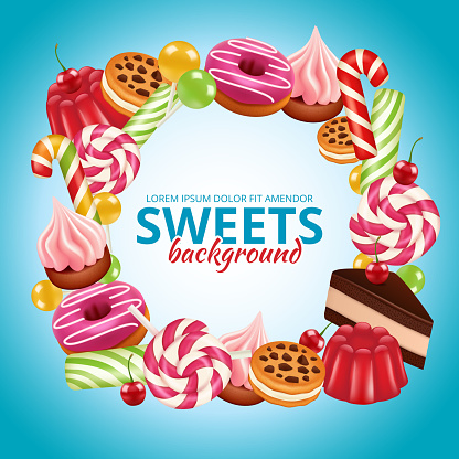 Sweet candy frame. Lollipop round and twisted shop colored dulce vector background realistic pictures