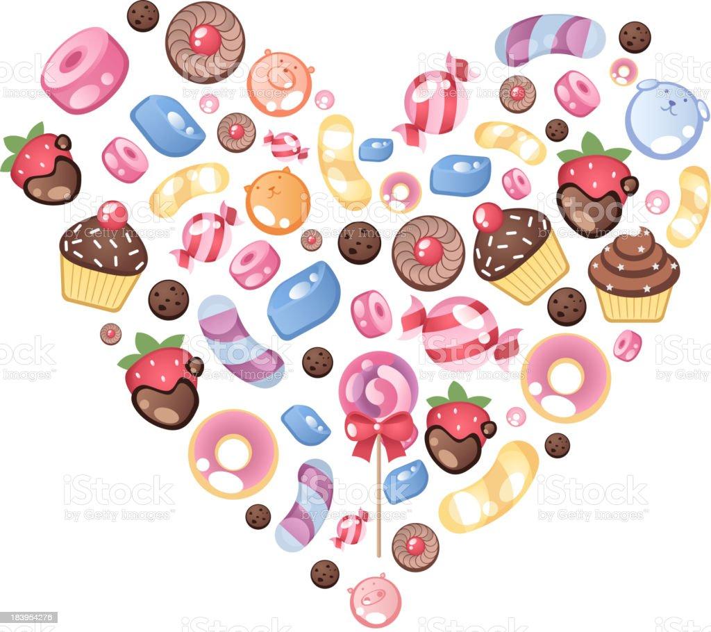 Sweet Candy Heart Shape of Love vector art illustration