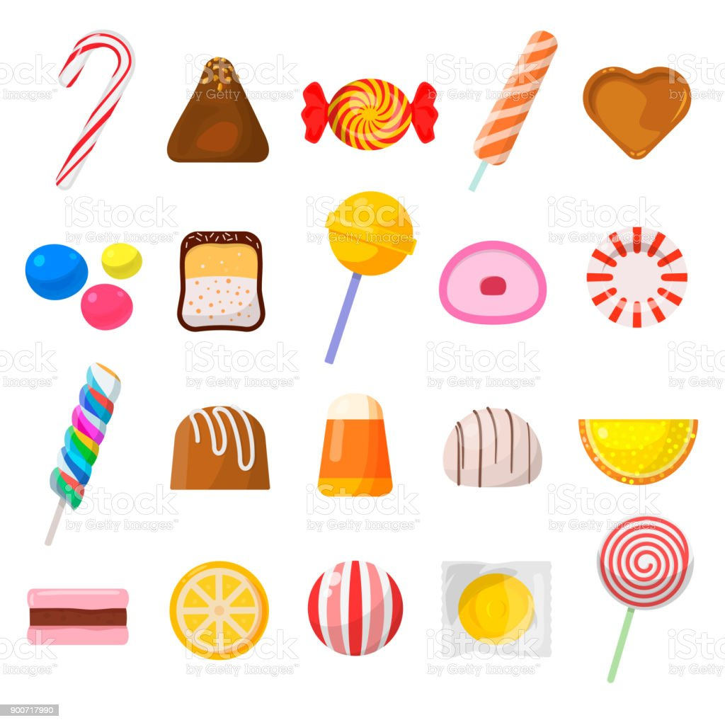 Sweet candy icon set vector art illustration