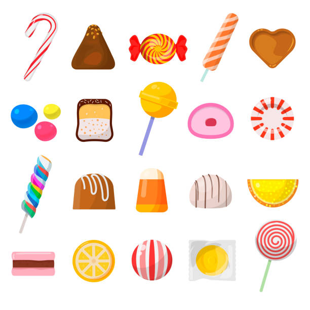 süßigkeiten-icon-set - kuchen und süßwaren stock-grafiken, -clipart, -cartoons und -symbole