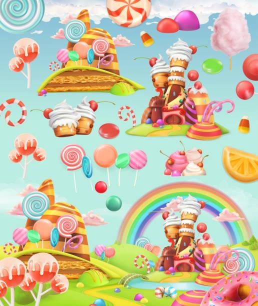 甜蜜的糖果土地。卡通遊戲背景。3d 向量圖示集 - 陸地 幅插畫檔、美工圖案、卡通及圖標