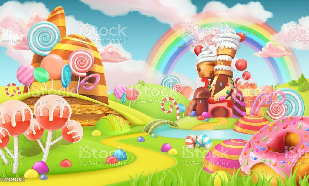 Terre de bonbons sucrés. Dessin animé fond de jeu. 3D illustration vectorielle - Illustration vectorielle