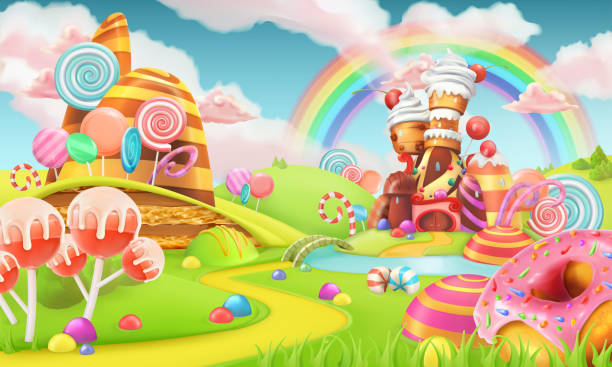 ilustraciones, imágenes clip art, dibujos animados e iconos de stock de tierra del caramelo dulce. dibujos animados juego de fondo. 3d ilustración de vectores - postre