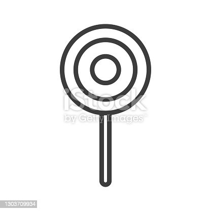 istock Sweet candy on stick simple food icon in trendy style isolated on white background for web apps and mobile concept. Vector Illustration 1303709934