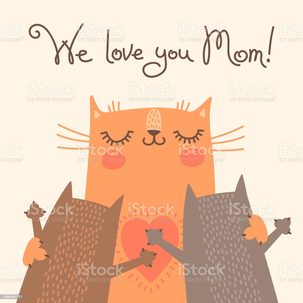 Sweet card for Mothers Day with cats vector art illustration