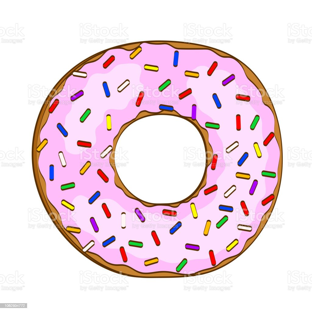 Sweet Cartoon Donut With Pink Glaze On White Stock Vector ...
