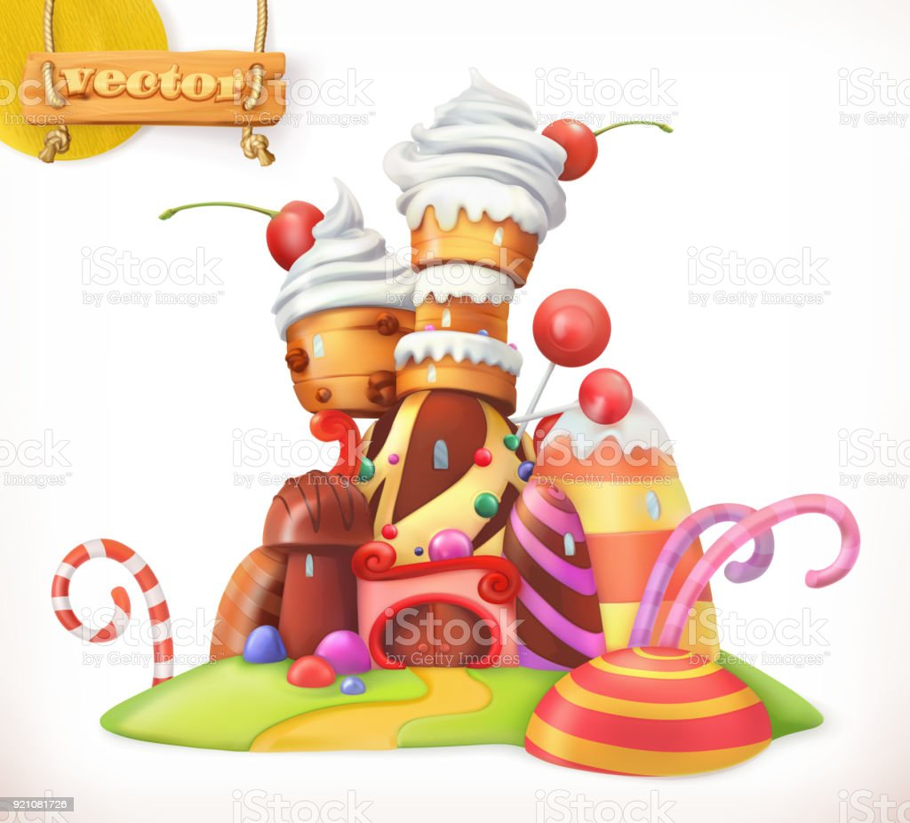 Sweet castle. Gingerbread house. Cake, cupcake, candy. 3d vector icon