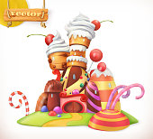 甘い城。ジンジャーブレッドの家。ケーキ、ケーキ、お菓子。3 d ベクトルのアイコン