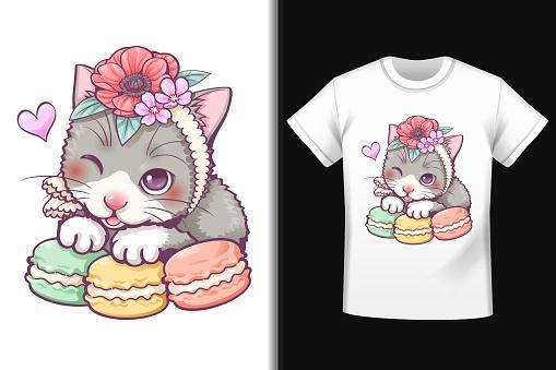 Sweet cat macaron pattern on T-shirt