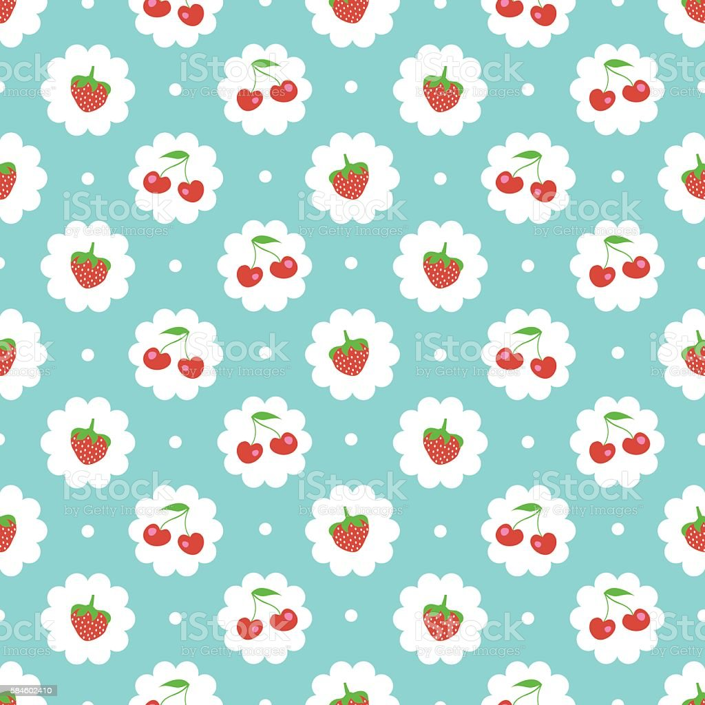 Sweet cherry and strawberries background vector art illustration