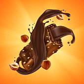 Sweet chocolate bar with hazelnut pieces and caramel on orange sunburst background. Vector realistic illustration of broken chocolate candy with crushed nuts and cocoa cream