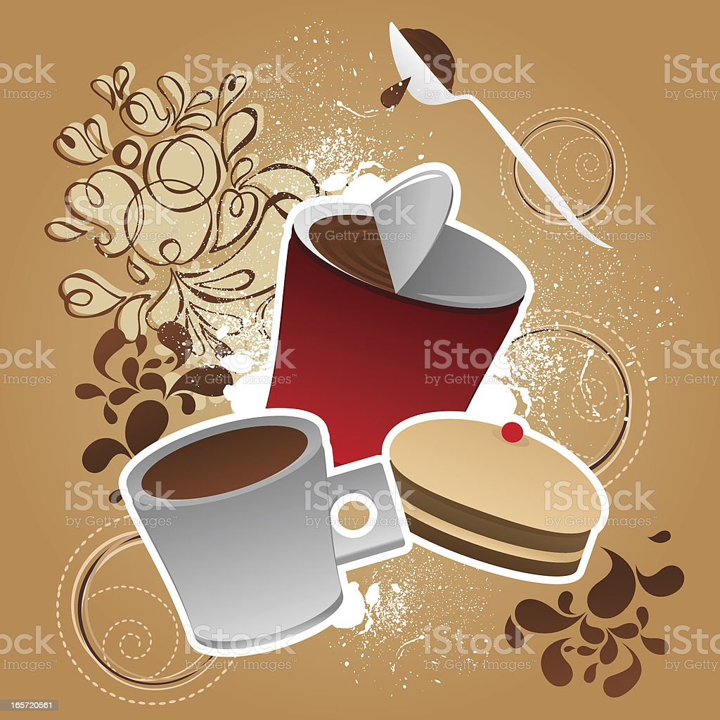 Sweet chocolate, coffee and cake royalty-free stock vector art