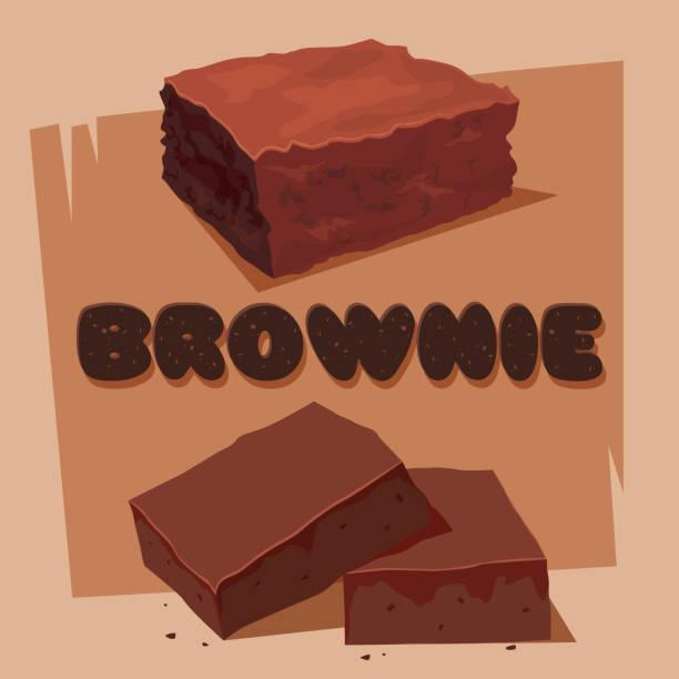 bildbanksillustrationer, clip art samt tecknat material och ikoner med söt choklad fudge brownie square - brownie
