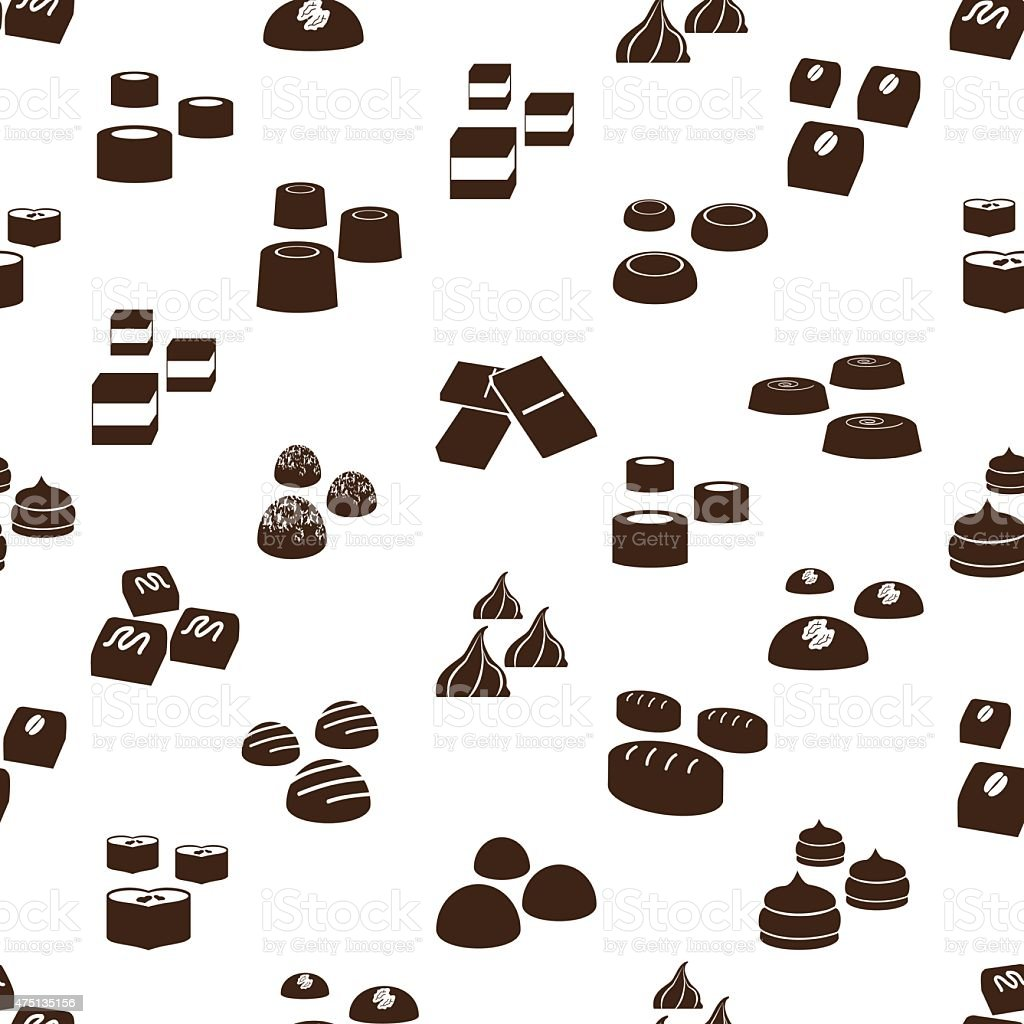 sweet chocolate truffles icons seamless pattern eps10 vector art illustration