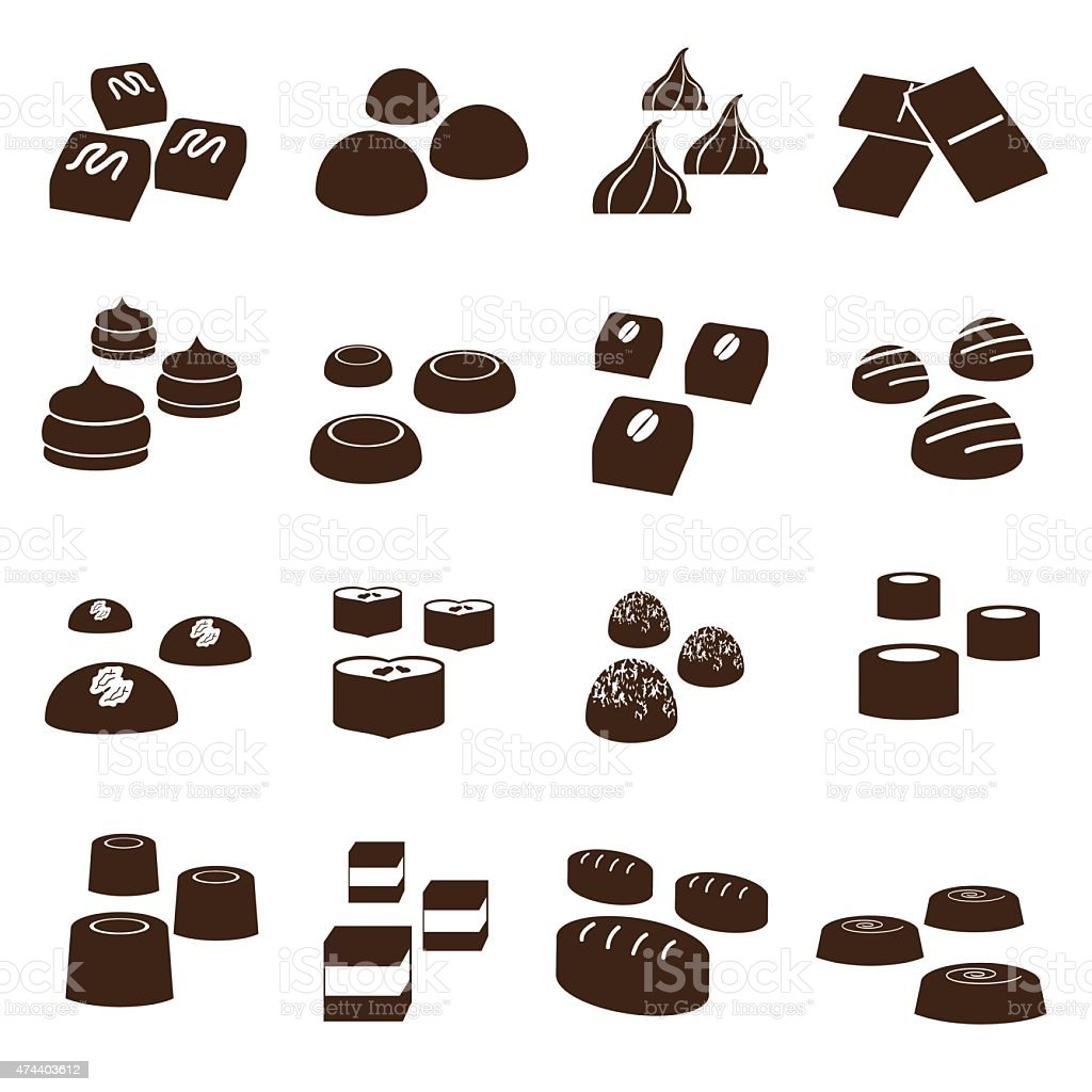 sweet chocolate truffles styles icons set eps10 vector art illustration