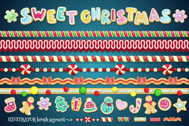 bildbanksillustrationer, clip art samt tecknat material och ikoner med söta jul designelement. - pepparkaka